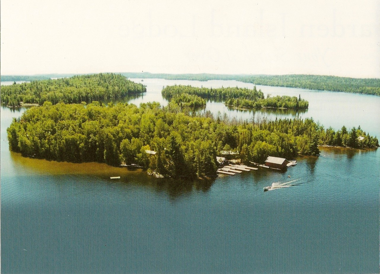 Aerial View Of Garden Island Lodge From An Old Postcard