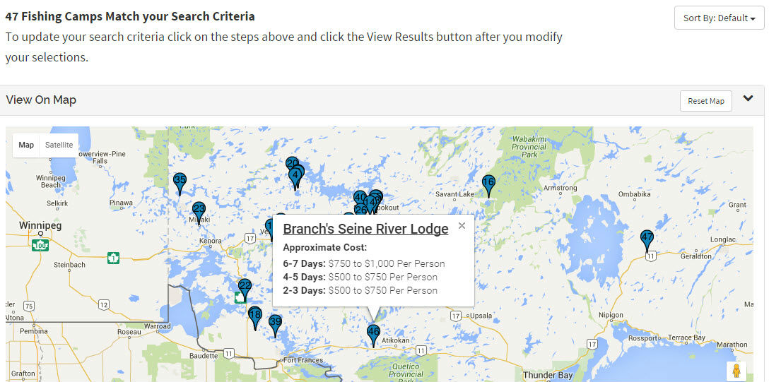 Map of Results from the Canadian Fishing Trip Finder